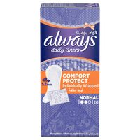Always Daily Liners Comfort Protect Normal Individually Wrapped 20 Counts