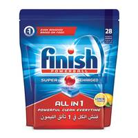 Finish All-in-1 Super Charged Powerball Dishwasher Detergent Tablets Lemon Sparkle 28 Tablets
