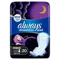 Always Dreamzz Pad Clean & Dry Maxi Thick Night Long Sanitary Pads with Wings 20 Pads