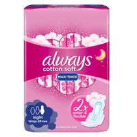 Always Cotton Soft Maxi Thick Night sanitary Pads with Wings 24 Pads
