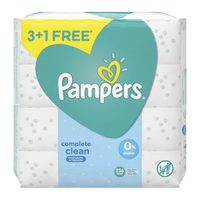 Pampers complete clean moisturizes and freshens alcohol ferr baby wipes 4 Pack x 64 Counts