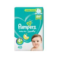 Pampers Baby-Dry Diapers Size 4+ Maxi Plus Value Pack 40 diapers
