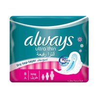 Always Ladies Pads Ultra Thin Long With Wings 8 Pads