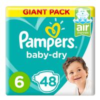 Pampers Baby-Dry Diapers, Size 6, Extra Large, 13+ kg, Giant Pack, 48 Count