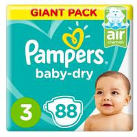 Pampers Baby-Dry Diapers, Size 3, Midi, 6-10kg, Giant Pack, 88 Count