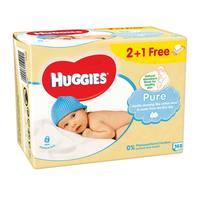 Huggies baby wipes pure 168 wipes 2 + 1 free