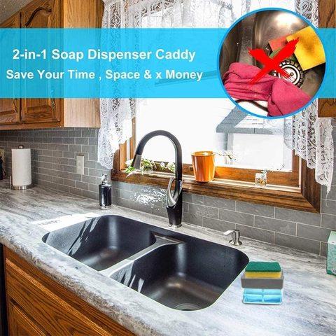 Buy 2 In 1 Soap Pump Dispenser And Sponge Holder Sponge Rack For Kitchen Sink Dish Washing Soap Dispenser 13 Ounces Gray Online Shop Home And Garden On Carrefour Uae