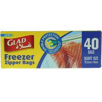 Glad Freezer Quart Size Zipper Bags  Pack of 40