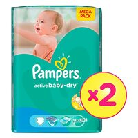 Pampers Active Baby Dry Diapers Size 4 Maxi, 714kg, Mega Pack, 76 Count x Pack of 2
