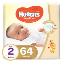 Huggies New Born Baby Diapers Size 2 4-6kg 64 Counts