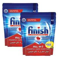 Finish Dishwasher Detergent All in One Tab Regular 42 Tabletsx2