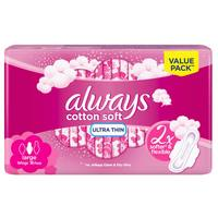 Always Cotton Soft Ultra Thin Large Sanitary Pads with Wings 16 Pads
