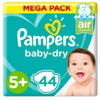 Pampers Baby-Dry Diapers Size 5+ Junior+  12-17kg  Mega Pack 44 Count