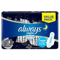 Always Clean & Dry Ultra Thin Night Sanitary Pads with Wings 14 Pads