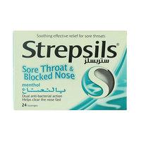 Strepsils Sore Throat & Blocked Nose Menthol 24 Lozenges