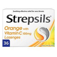 Strepsils Orange And Vitamin C 100mg Pack Of 36