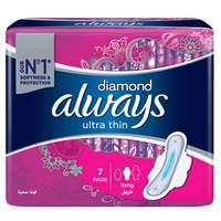 Always Diamond Ultra Thin Sanitary Pad Long Pads x Pack of 7