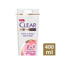Clear women's soft & shiny anti dandruff with silk proteins shampoo & conditioner 400 ml