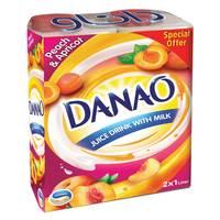 Danao Juice Drink with Milk Peach & Apricot 1L x 2 packs
