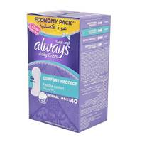Always pantyliners comfort protect normal 40 pieces