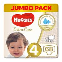 Huggies extra care size 4 jumbo pack 8-14 Kg 68 diapers