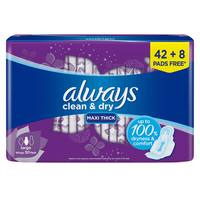 Always Clean & Dry Maxi Thick Large Sanitary Pads with Wings 50 Pads