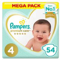 Pampers Premium Care Diapers Value Pack Size 4 Large 54 Count 9-14 kg