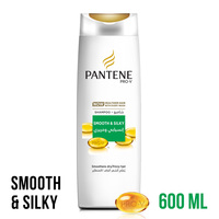 Pantene pro-v smooth & silky shampoo smoothens dry & frizzy hair 600 ml