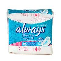 Always Ladies Pads Ultra Thin Long Sensitive 8 Pads