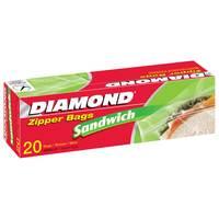 Diamond Zipper Sandwich Bags 20 Pieces
