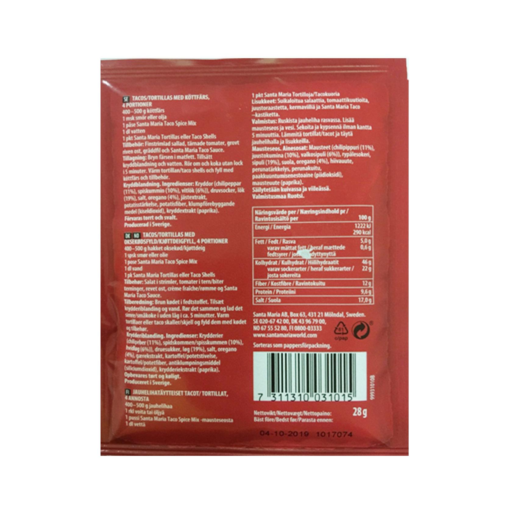 Santa Maria Spice Mix for Taco Original Mild 28g