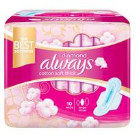 Always Diamond Maxi Thick Large Sanitary Pads with Wings 10 Pads