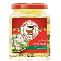 The Three Cows Feta Jar of cubes in oil and spices  300g