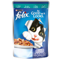 Purina Felix As Good as it Looks Tuna in Jelly Wet Cat Food Pouch 100g