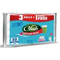 Sanita club trash bag economy pack 10 gallons medium 81 bags x 3 rolls