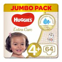 Huggies extra care size 4+ jumbo pack 10-16 Kg 64 diapers