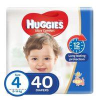 Huggies Ultra Comfort Baby Diapers Size 4, 8 - 14kg 40 Counts