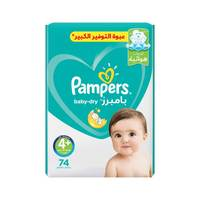 Pampers baby-dry diapers size 4+ maxi plus mega pack 74 diapers