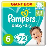 Pampers Baby-Dry Diapers Size 6 Extra Large 13+ kg Giant Box 72 Count