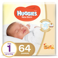 Huggies Newborn Baby Diapers Jumbo Pack Size 1 Up to 5kg 64 Counts