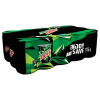 Mountain Dew Carbonated Soft Drink Mini Cans 155mlx15