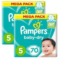 Pampers Baby-Dry Diapers, Size 5, Junior, 11-16 kg, Giant Pack, 70 Count Pack of 2
