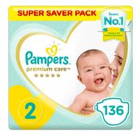 Pampers Premium Care Diapers Size 2 Mini 3-8 kg Super Saver x Pack of 136