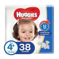 Huggies Ultra Comfort Baby Diapers Size 4+, 10 - 16kg 38 Counts