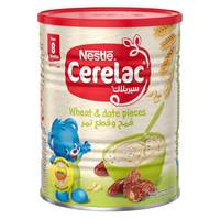 Nestle Cerelac From 8 Months, Wheat and Date Pieces with Milk Infant Cereal Tin 400g