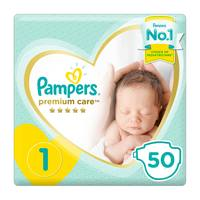 Pampers Premium Care Diapers Size 1 Newborn Value Pack 50 diapers