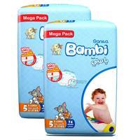 Sanita Bambi Baby Diapers Mega Pack Size 5 X-Large 13-25kg 74 Count x2