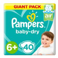 Pampers Baby-Dry Diapers, Size 6+, Extra Large+, 14+ kg, Giant Pack, 40 Count
