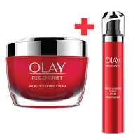 Olay Face Moisturizer Day and Night Cream Regenerist Microsculpting Day cream with SPF30 50g  and Regenerist Night Moisturizer with Hyaluronic Acid 50g
