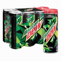Mountain Dew Carbonated Soft Drink Cans 295ml x Pack of 8